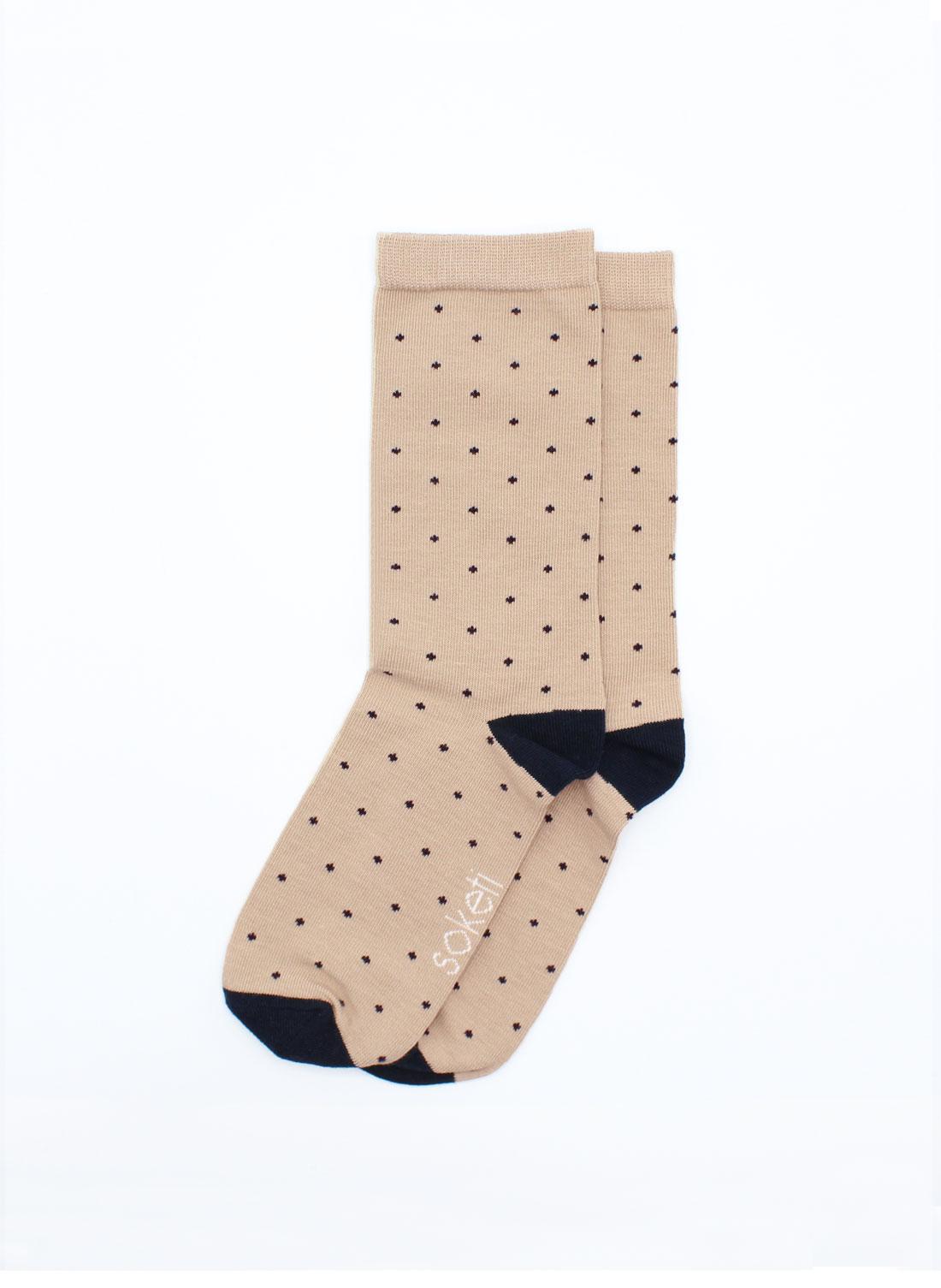 chaussettes à pois beige homme