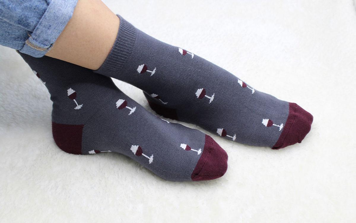 chaussettes verres de vin vincent gris soketi