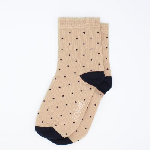 chaussettes à pois beige