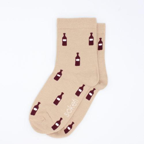 chaussettes femme vin beige